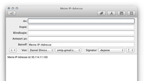 Mail mit der IP-Adresse