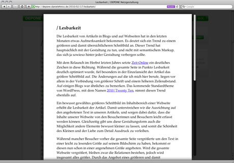 Bildschirmfoto Reader Safari 5 Mac