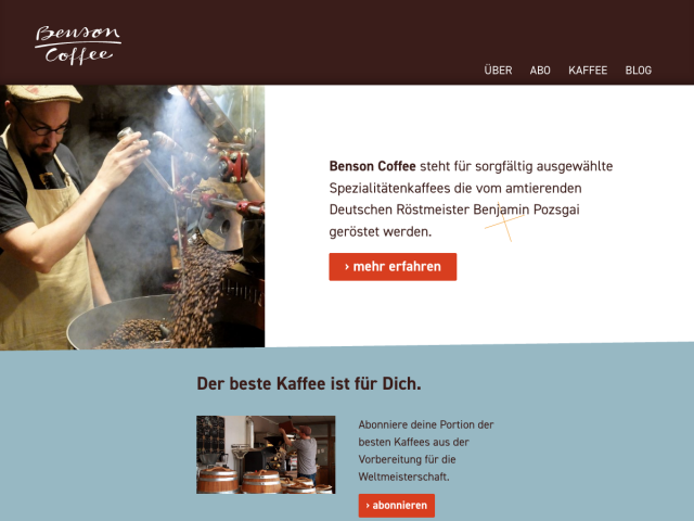 Bildschirmfoto der Webseite von Benson Coffee –Benjamin Pozsgai