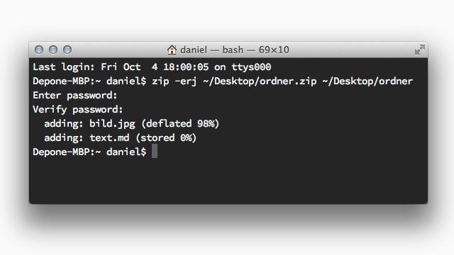 Zip-Archiv im Terminal erstellen