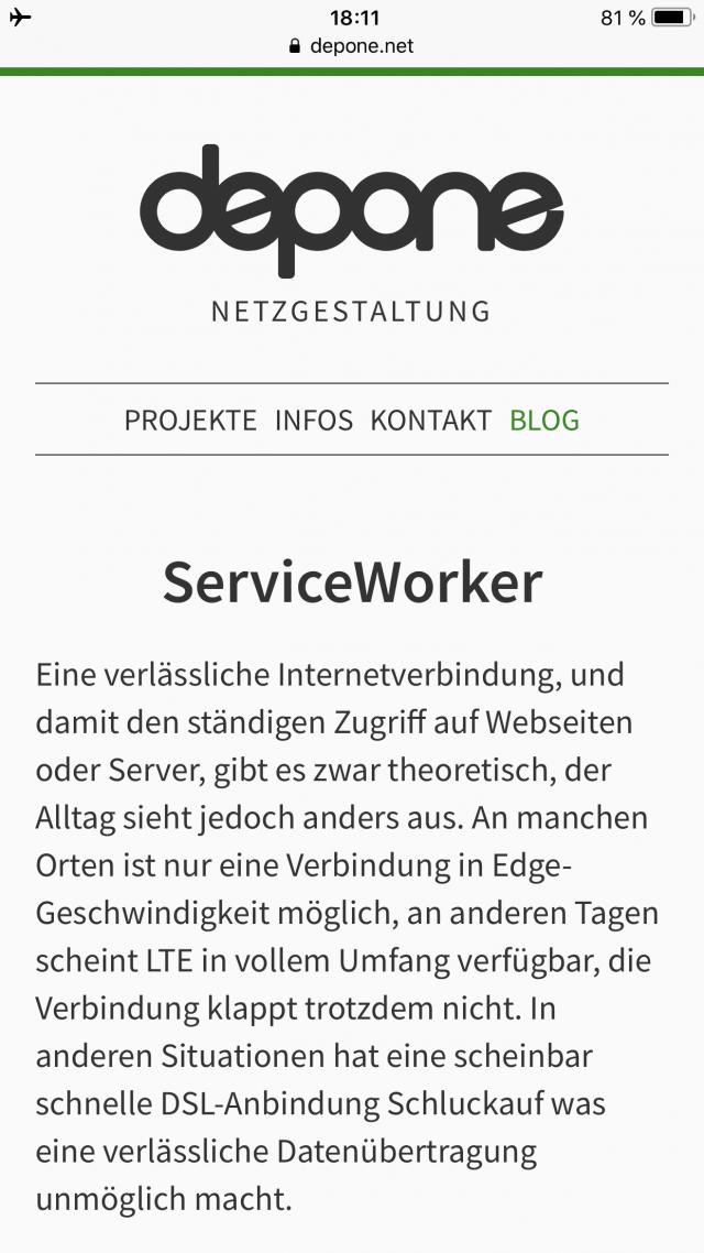 Beispiel eines ServiceWorker unter iOS 11.3