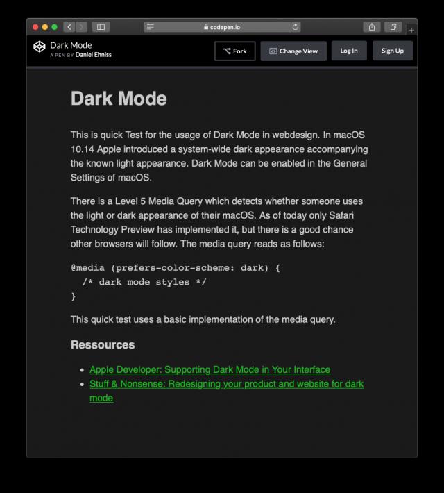 Webdesign: Dunkles Erscheinungsbild (Dark Mode)